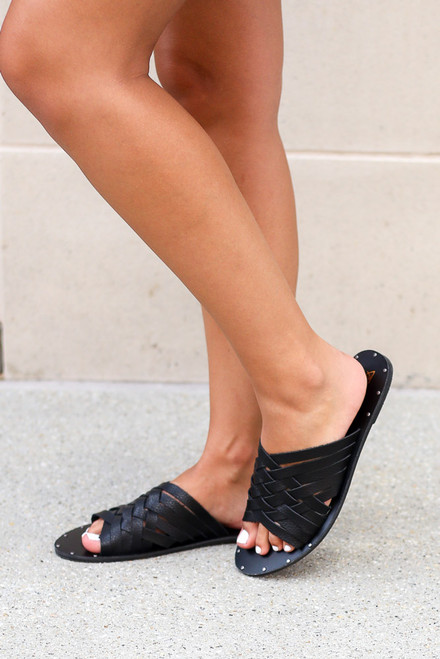 Black - Braided Sandals from Dress Up
