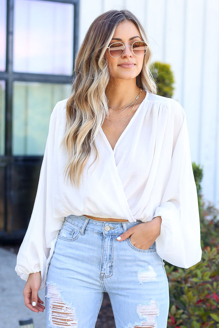 White - Textured Satin Blouse from Dress Up