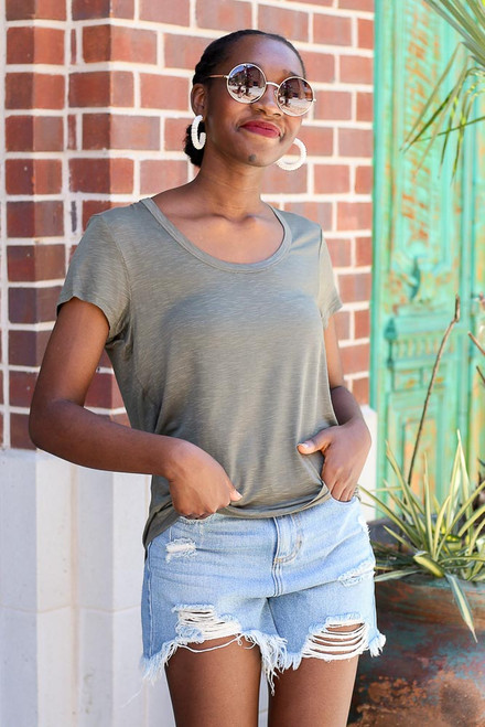 Olive - Soft Knit Tee