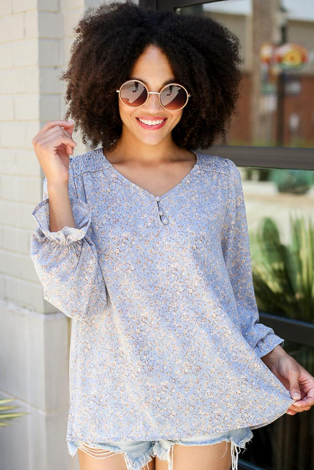 Denim - Floral Blouse