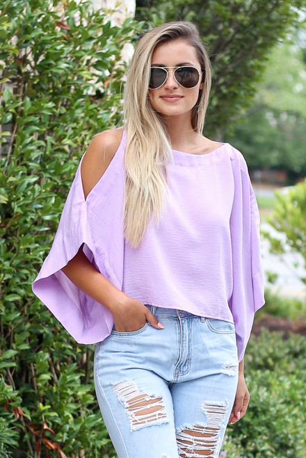 Lavender - Oversized Cold-Shoulder Blouse