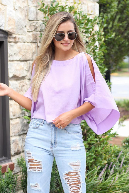 Lavender - Oversized Cold-Shoulder Blouse from Dress Up