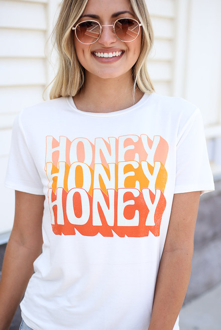 White - Honey Graphic Tee from Dress Up