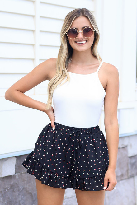 Black - cute floral ruffle shorts from dress up
