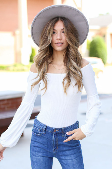 White - cute off the shoulder top at dress up boutique