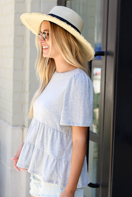 Tie-Back Tiered Top in Heather Grey Side View