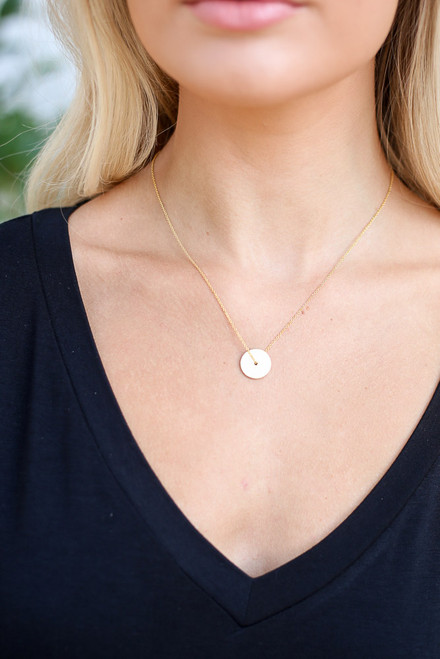 Gold - Circle Pendant Necklace