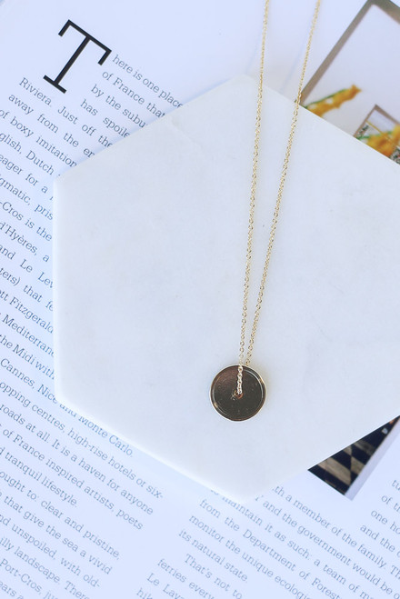 Gold - Circle Pendant Necklace from Dress Up Boutique