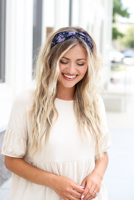Navy - cute floral headband styled with neutral babydoll top