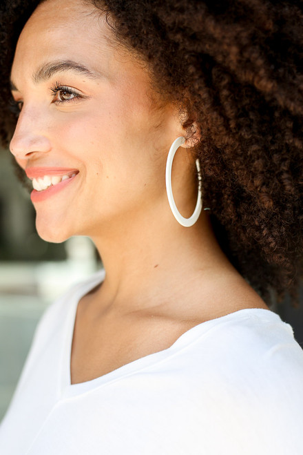 White - Flat Hoop Earrings