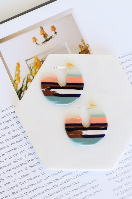 Multi - Striped Acrylic Earrings