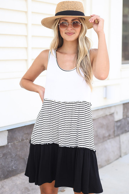 Black - Tiered Swing Dress