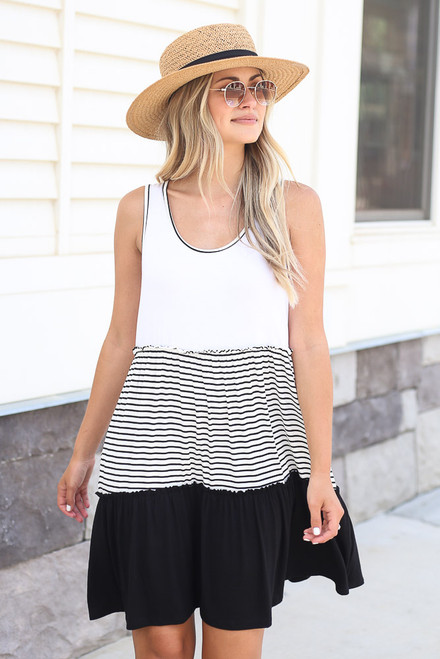 Black - Striped Tiered Swing Dress