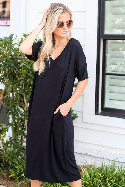 Black - V-Neck Midi Dress