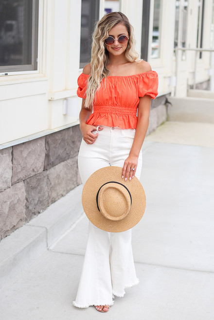 Coral - Puff Sleeve Crop Top with white flares and a straw boater hat from shopdressup