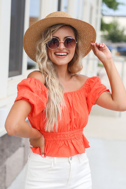Coral - Puff Sleeve Crop Top