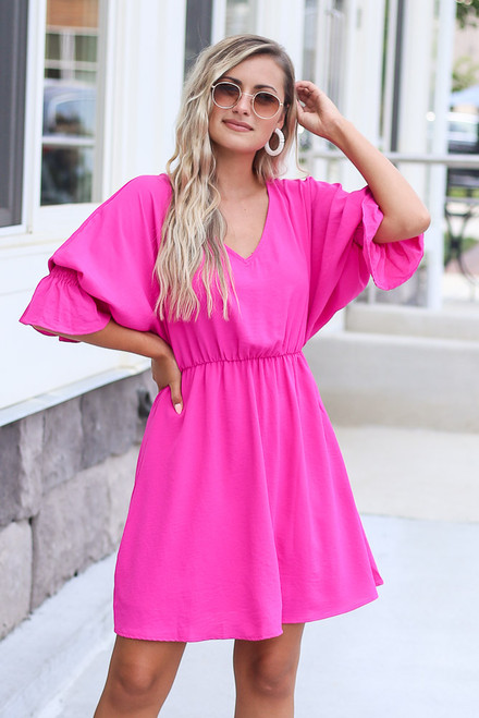 Fuchsia - Statement Sleeve Mini Dress