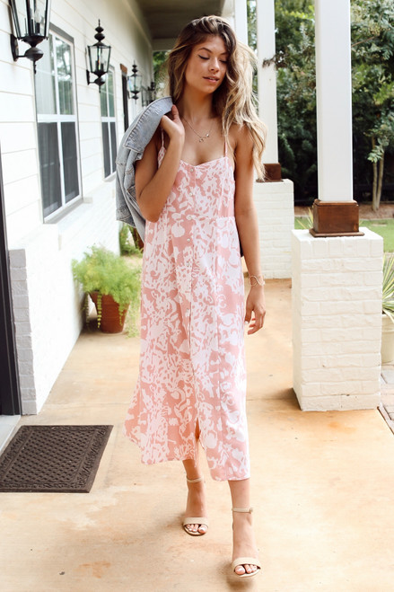 Pink - Floral Button Front Midi Dress