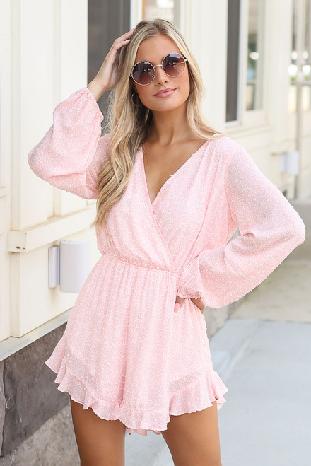 Blush - Spotted Swiss Dot Romper