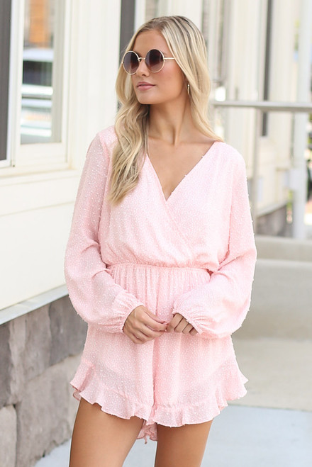 Blush - Cute Romper with swiss dots at dress up boutique