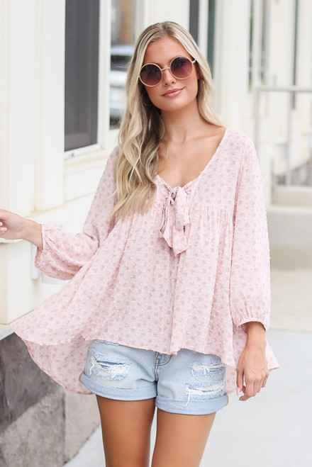 Pink - Swiss Dot Babydoll Blouse