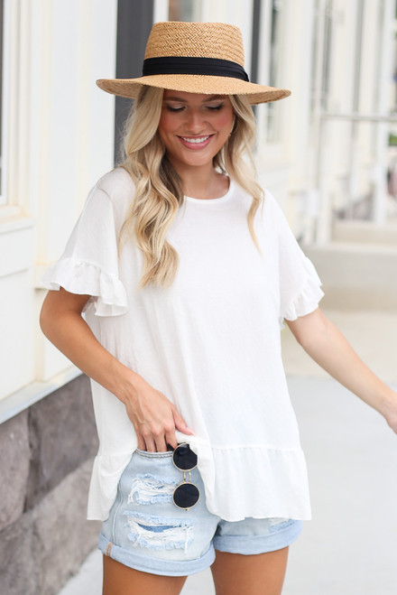 White - Cute Peplum Tunic from Dress Up