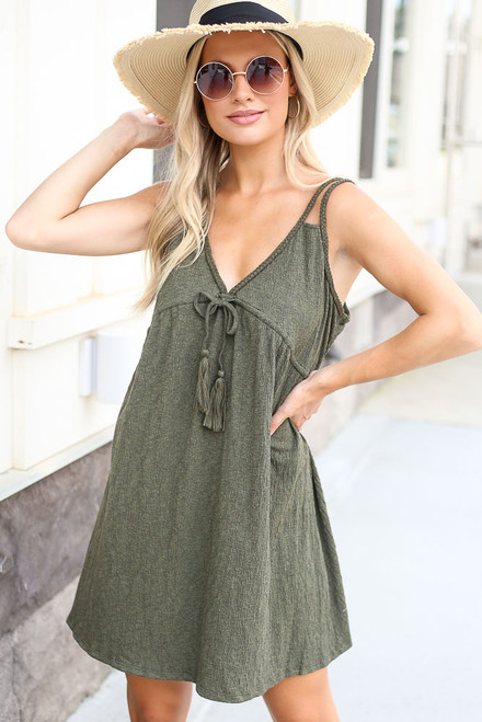 Olive - Braided Babydoll Dress