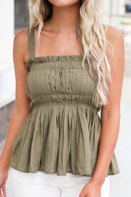 Olive - Smocked Peplum Tank Top with square neckline and white denim