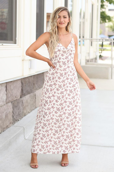 Ivory - Floral Maxi Slip Dress at Dress Up Boutique