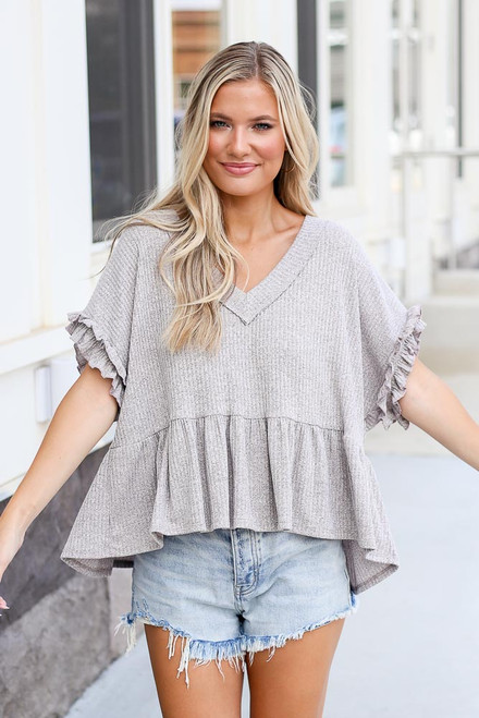 Grey - Oversized Ribbed Knit Babydoll Top