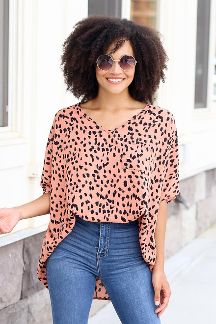 Peach - Spotted print oversized blouse in peach