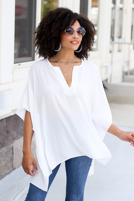 White - High-Low Oversized Blouse