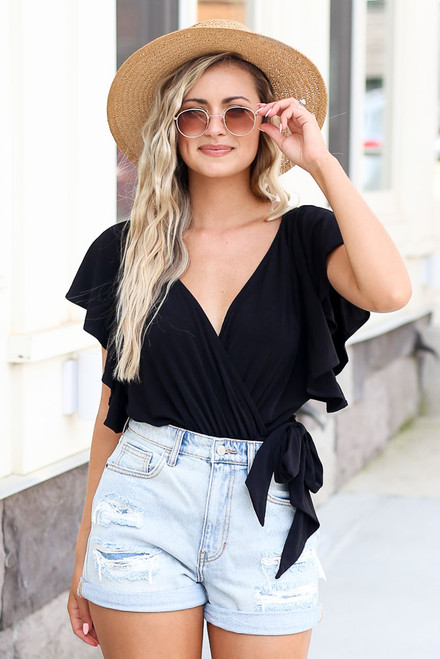 Black - Wrap V-Neck Bodysuit
