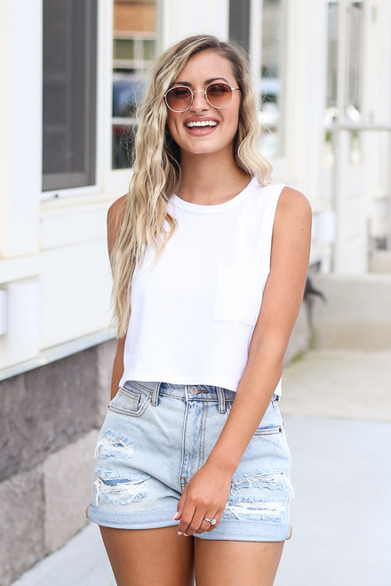 White - Sleeveless Crop Tee from Dress Up