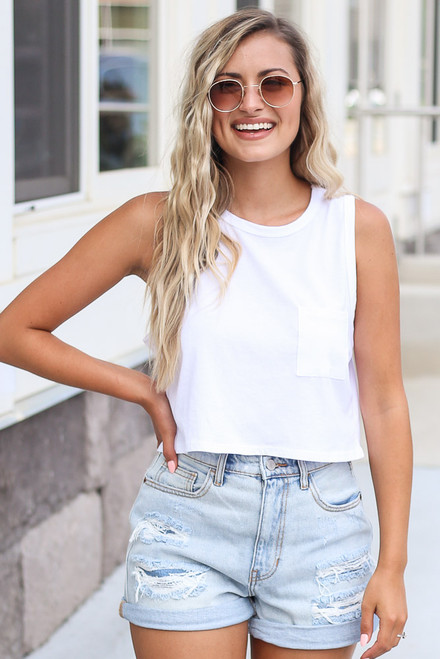 White - Sleeveless Crop Tee