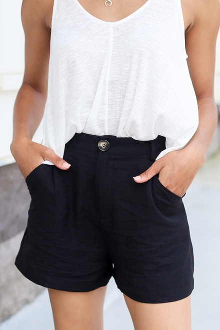 Black - Chic Satin High Waist Shorts at Dress Up