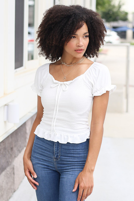Ivory - Smocked Puff Sleeve Top