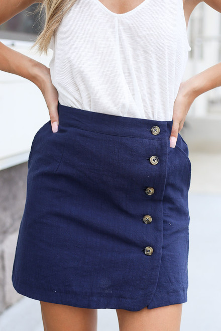 Navy - Button Front Mini Skirt Close Up