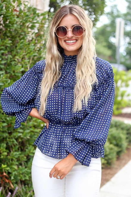 Navy - Polka Dot Blouse