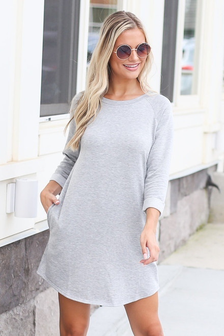 Heather Grey - Model wearing the Plush Sweatshirt Dress