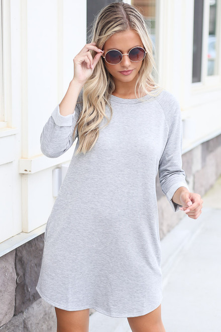 Heather Grey - Plush Sweatshirt Dress in Heather Grey Front View