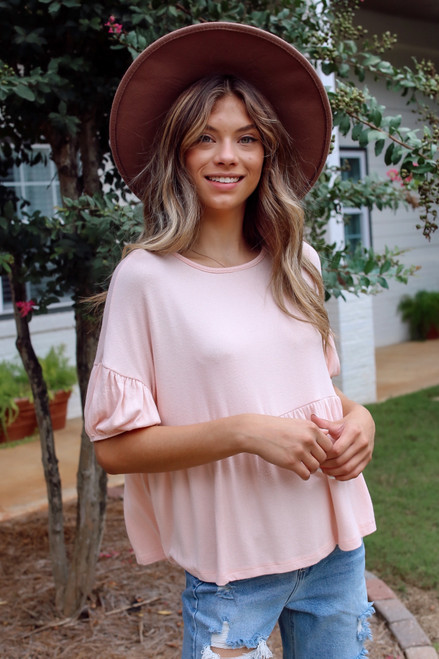 Blush - Go-To Loose Fit Babydoll Tee in Blush Front View