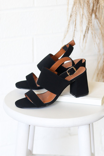 Black - Cute Double Strap Block Heels at dress up