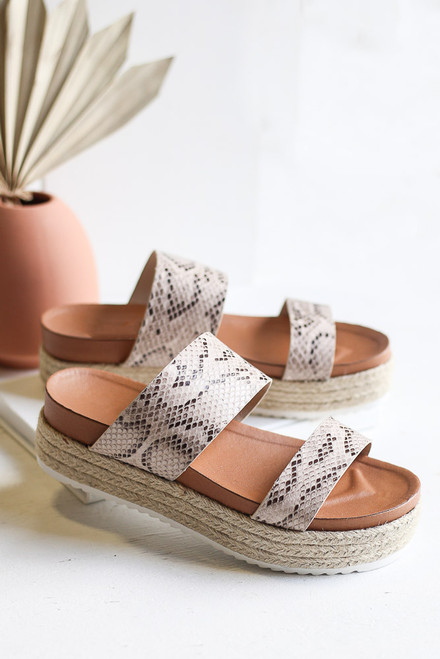 Flat Lay of the Platform Espadrilles in Snake