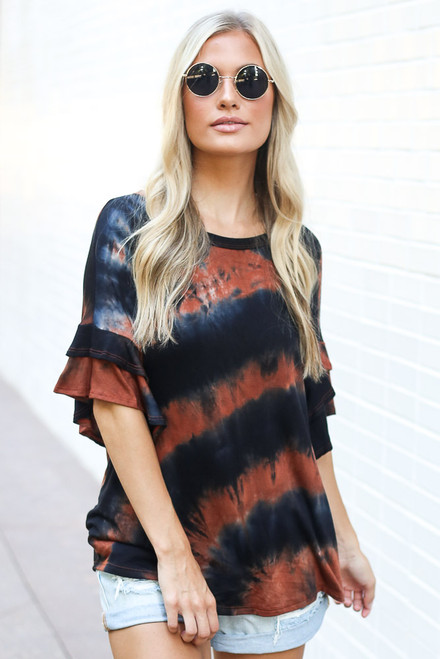 Rust - Tie-Dye Ruffle Sleeve Top