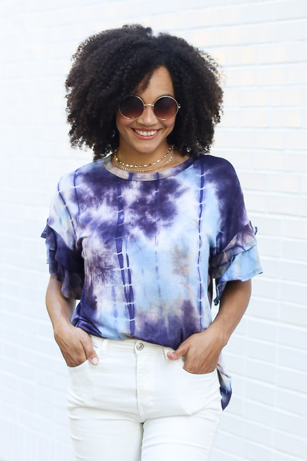 Purple - Tie-Dye Ruffle Sleeve Top from Dress Up