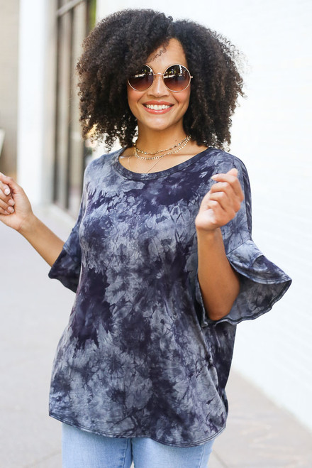 Navy - Tie-Dye Ruffle Sleeve Top from Dress Up
