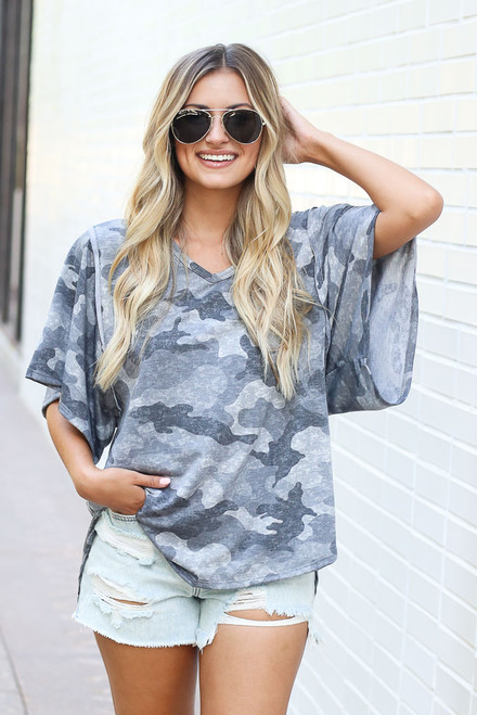 Charcoal - Oversized Camo Top