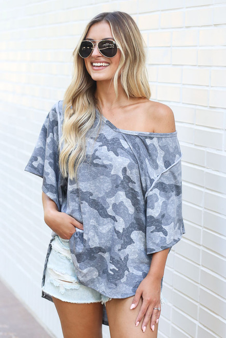 Charcoal - Oversized Camo Top from Dress Up
