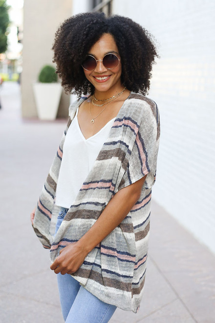 Sage - Striped Knit Kimono from Dress Up